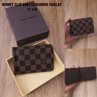 DOMPET KULIT PRIA MURAH BRANDED MONEY CLIP LV 6384 DAMIER COKLAT