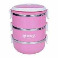 Jual aiueo eco lunch box - rantang 3 susun glossy pink Murah