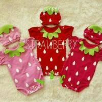Jumper Bayi Strawberry + Topi Baju Jumpsuit Bayi Kostum Buah Stroberi