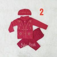Baju gamis Koko muslim Anak Bayi laki merah 3 4 5 6 7 8 9 10 11 bulan