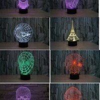 Lampu Proyektor 3d Hologram Nyala LED 7 warna Paris Tengkorak Batman