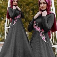 Hijab Syari Brokat Ratu Black / Grosir Busana Muslim / Baju Hijab