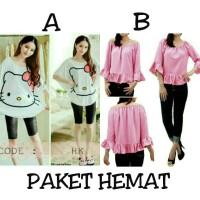 Jual PAKET HEMAT - Batwing blouse big size blus jumbo high quality Murah