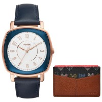 Fossil ES4248SET Idealist 3-Hand Blue Leather Watch &Card Case Box Set