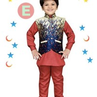 FK 38E Baju Koko Anak Kecil India Pakistan Lebaran Import Merah Rompi