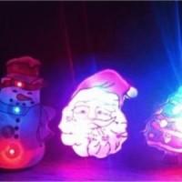 Jual bros lampu nyala natal karakter santa pohon boneka salju hello Murah