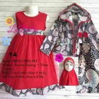 dress gamis anak 6-7th labella tutu hoodie merah 14