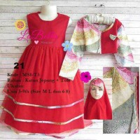 Jual dress gamis anak 3-6th labella tutu 3 merah 21 Murah
