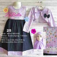 dress gamis anak 6-11th labella denim bolero ungu 25
