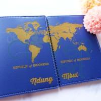 Passport Cover CUSTOM NAMA - SYNTHETIC LEATHER - GLOBE COUPLE