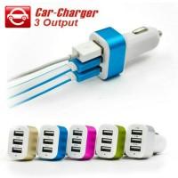 Jual car charger 3port 3in1 charger mobil Murah