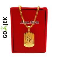 Jual Kalung Titanium Gold Liontin Lafadz Allah Pria Anti Karat Murah