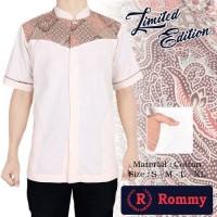 Kemeja  Baju Koko Muslim Pria  - Putih Krem Kombinasi Batik