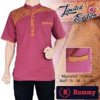 Kemeja  Baju Koko Muslim  Pria - Merah Marun Kombinasi