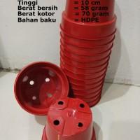 Jual Pot Bunga Plastik Merah / Pot Plastik / Pot Tanaman Hias 12 cm Murah