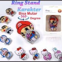 Jual iRing Stand Holder Karakter Cartoon Hello Kitty Sinchan Doraemon Ring Murah