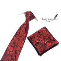 Gift set batik maroon isi dasi panjang, pocket square, cufflinks ready