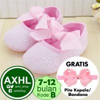Baby Girl Prewalker Pink Ribbon - B Kira kira 6-12 bulan / Sepatu Bayi