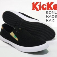 Sepatu Slip On Pria Kickers Casual Black