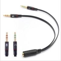 Splitter Audio Jack 3.5mm Female ke Dual 3.5mm Male (Mic+Hear)
