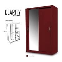Lemari Pakaian 2 Pintu Kaca Minimalis Clarity Door Sliding HPL Coklat