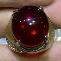 Jual Cincin Titanium natural Batu Merah Delima Cutting Cabochon HQ Murah