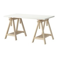 IKEA LINNMON/FINNVARD (MEJA PUTIH - KAYU BIRCH) 150X75CM