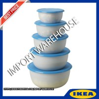 Jual IKEA REDA Tempat makanan, set isi 5, bulat putih transparan, biru Murah