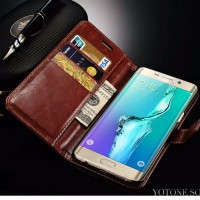 Samsung galaxy s6 edge Wallet flip Cover Card Case Leather Vintage