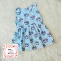 Jual Dress Katun Anak Overall Indian Bear Blue Lucu Murah Adem Murah