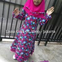 Gamis Anak Usia SD/ Baju Muslim Katun Jepang Motif Bunga