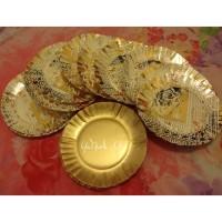 piring kertas kue tart emas gold ultah ulang tahun paper plate