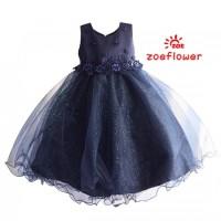 Baju Anak Gaun Pesta Biru Dongker Zoe Flower 2 3 4 5 6 Tahun AGD3612