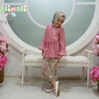 Jual Dolimoli Set Gamis Jilbab Setelan Pink/Baju Anak Muslim Batik Murah