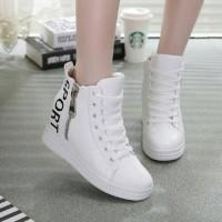 Sepatu Boots Sport White Zipper