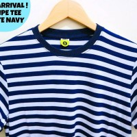 stripe tee navy white - kaos strip - kaos stripe navy putih - basic