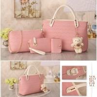 Tas Fashion Wanita Import Style Korea B4759 Pink 4 in 1