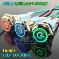 Jual Paket Saklar + Soket Self Locking Ring Simbol Saklar Chrome Stainless Murah