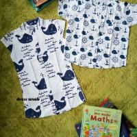 Kemeja Anak Laki-Laki motif whales/ikan paus biru