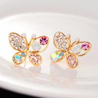 kalung anting diamond kupu Korean jewelry butterfly earrings jan092