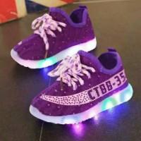 Jual Sepatu walker anak import kets ungu purple tali pink ada lampu LED Murah
