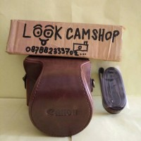 LEATHER CASE COVER CAMERA BAG TAS KAMERA CANON EOS M10 M 10 - COFFEE