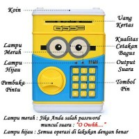 Celengan Atm non musik minion panda hellokitty cartoon saving box