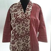 Jual blouse kimono batik cap merah marun Murah