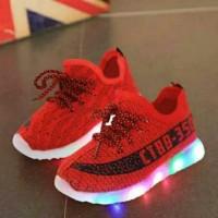 Jual Sepatu walker anak import merah red tali marun maroon ada lampu LED Murah