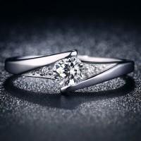 Cincin Emas Putih Berlian Diagonal Batu Bulat Perhiasan Mewah - BR148