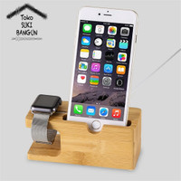 Jual Bamboo Wooden Charging Dock Station for Apple Watch 38mm 42mm iPhone Murah