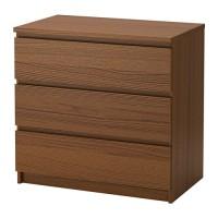 IKEA MALM Lemari 3 Laci 80x78 cm - Diwarnai cokelat veneer kayu ash