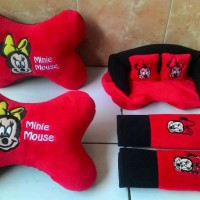 Car Set Karakter Bantal Mobil Boneka Minnie Mickey Mouse 3 in 1 (CS3)