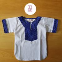 Jual baju koko bayi lebaran print motif blue tetris Murah